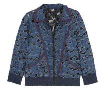 Jacquard-trimmed denim-appliquéd lace jacket