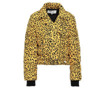 Quilted Shell Down Biker Jacket Animal Print