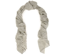 Frayed metallic striped cashmere-blend scarf
