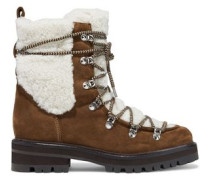 Woman Isla Shearling And Suede Ankle Boots Brown