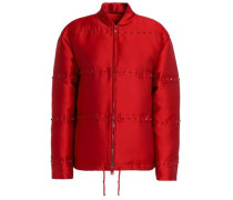 Quilted faille bomber jacket