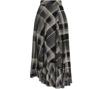 Asymmetric printed silk midi skirt
