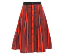 Pleated Striped Cotton-poplin Skirt Brick