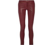 Crushed-leather Leather Skinny Pants Merlot  4