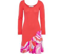 Woman Printed Satin Twill-paneled Wool Mini Dress Tomato Red