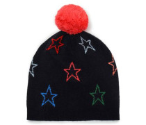 Pompom-embellished Intarsia Wool And Cashmere-blend Beanie Midnight Blue Size ONESIZE
