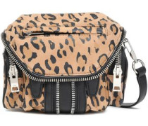Leopard-print And Textured-leather Shoulder Bag Animal Print Size --
