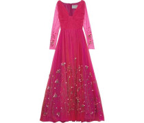 Twist-front Embellished Tulle Gown Fuchsia