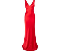 Silk-satin Maxi Dress Red