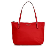 Leather-trimmed Shell Tote Crimson Size --