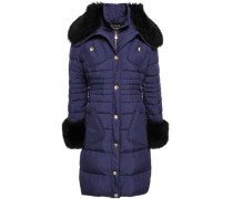 Shearling-trimmed Quilted Shell Down Coat Indigo