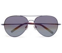 Aviator-style tortoiseshell acetate and metal sunglasses