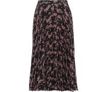 Hailey Pleated Floral-print Crepe De Chine Midi Skirt Black