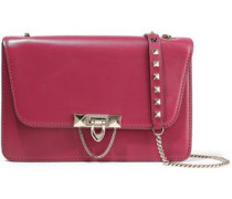 Woman Demilune Studded Chain-trimmed Leather Shoulder Bag Magenta