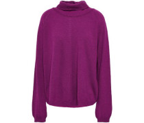 Pointelle-trimmed Wool And Cashmere-blend Turtleneck Sweater Purple