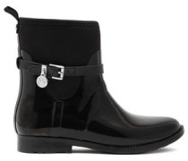 Charm Scuba-paneled Rubber Rain Boots Black