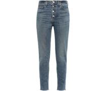 Nina Cropped Frayed High-rise Skinny Jeans Mid Denim  3