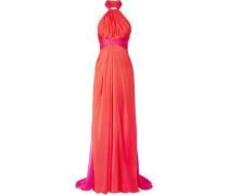 Gathered Two-tone Silk-chiffon Halterneck Gown Fuchsia