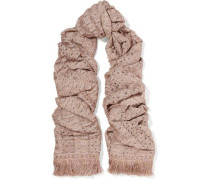 Fringed metallic crochet-knit scarf