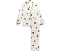 Lila Printed Silk-satin Pajama Set Cream Size 1