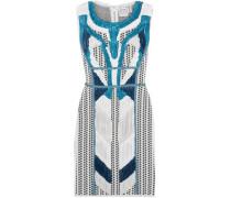 Akira plissé-paneled jacquard-knit mini dress