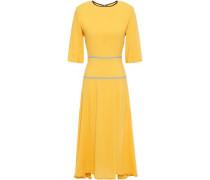 Woman Piped Crepe Midi Dress Saffron