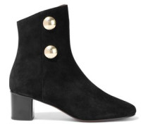 Orlando Button-embellished Suede Ankle Boots Black