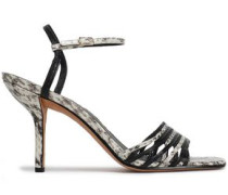 Federica Smooth And Snake-effect Leather Sandals Animal Print
