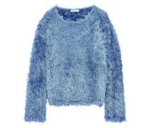Frayed Silk Sweater Light Blue