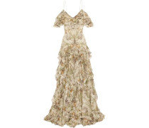 Cold-shoulder ruffled floral-print silk-georgette gown