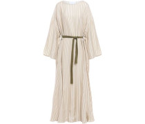 Belted Striped Jacquard Midi Dress Cream