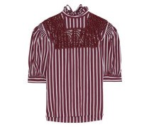 Raphaelle Crochet-paneled Striped Poplin Blouse Claret