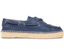 Lace-up Leather Espadrilles Navy