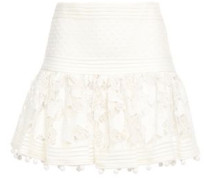 Woman Embroidered Organza-paneled Guipure Lace Mini Skirt Ivory