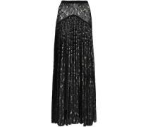 Pleated Metallic Jacquard-knit Maxi Skirt Black
