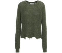 Woman Distressed Cotton And Silk-blend Sweater Dark Green