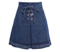 Lace-up Denim Mini Skirt Mid Denim