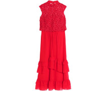 Layered crochet and ruffled chiffon maxi dress