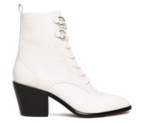 Embroidered Leather Ankle Boots White