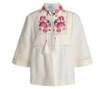 Tassel-trimmed Embroidered Linen-blend Jacket Ivory