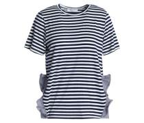 Ruffled poplin-trimmed striped jersey T-shirt