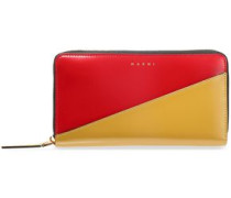 Two-tone Patent-leather Continental Wallet Mustard Size --