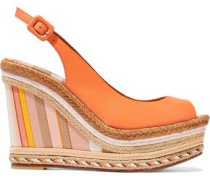 Leather Platform Espadrille Wedge Sandals Orange