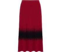 Two-tone Ribbed-knit Midi Skirt Claret Size 0