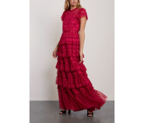 Darcy Tiered Embroidered Tulle Gown Crimson