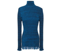 Woman Frayed Mélange Ribbed Cotton Turtleneck Sweater Cobalt Blue