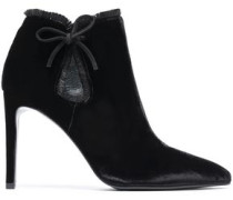 Cutout bow-detailed velvet ankle boots