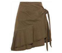 Anson wrap-effect ruffled cotton-twill mini skirt