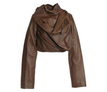 Draped Textured-leather Jacket Brown