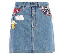 Appliquéd Denim Mini Skirt Mid Denim  4